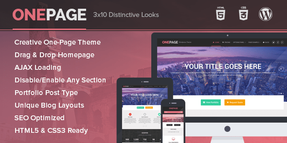 OnePage - Unique Portfolio and Single Page Business WordPress Theme