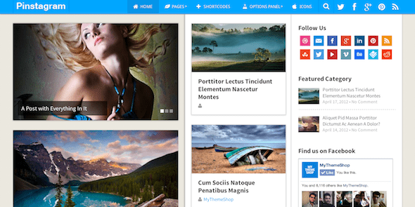 Pinstagram WordPress Blog Theme