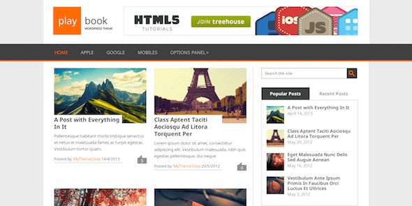 PlayBook FREE Dual Column WordPress Theme