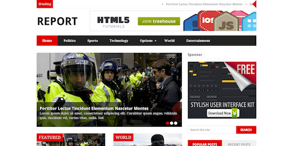 Report News Layout WordPress Theme