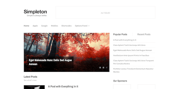Simpleton Minimalist WordPress Theme