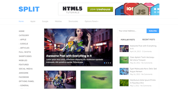 Split Minimal & Crisp WP Theme