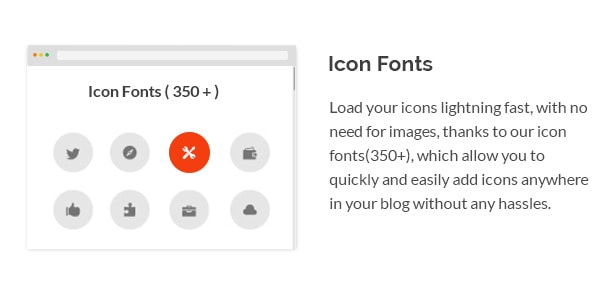 Load your icons lightning fast, with no need for images, thanks to our icon fonts(350+), which allow you to quickly and easily add icons anywhere in your blog without any hassles.
