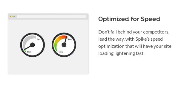 Don't fall behind your competitors, lead the way, with Spike's speed optimization that will have your site loading lightening fast.