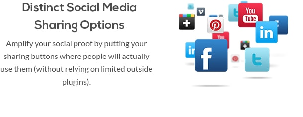 Distinct Social Media Sharing Options - Amplify your social proof by putting your sharing buttons where people will actually use them (without relying on limited outside plugins).