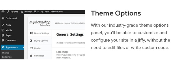 With our industry-grade theme options panel, you'll be able to customize and configure your site in a jiffy, without the need to edit files or write custom code.