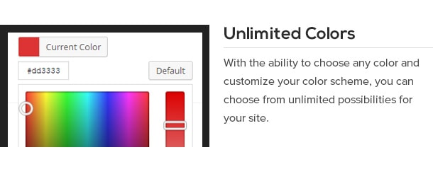 With the ability to choose any color and customize your color scheme, you can choose from unlimited possibilities for your site.