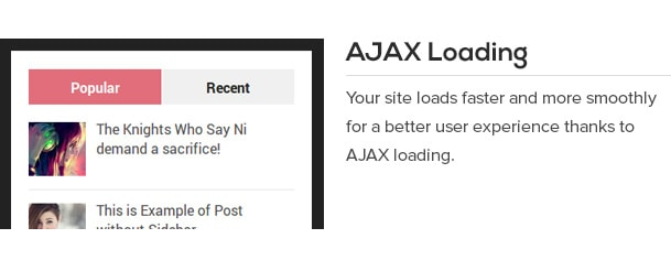 Your site loads faster and more smoothly for a better user experience thanks to AJAX loading.