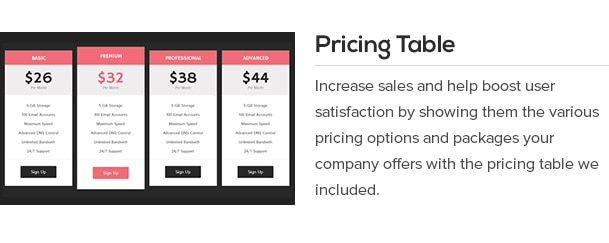 Increase sales and help boost user satisfaction by showing them the various pricing options and packages your company offers with the pricing table we included.