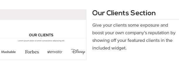 Give your clients some exposure and boost your own company's reputation by showing off your featured clients in the included widget.