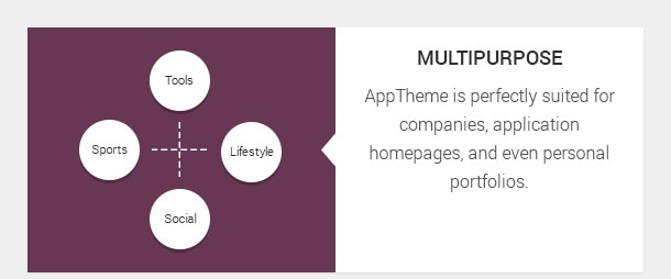 AppTheme is perfectly suited for companies, application homepages, and even personal portfolios.