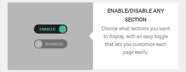 Choose what sections you want to display, with an easy toggle that lets you customize each page easily.