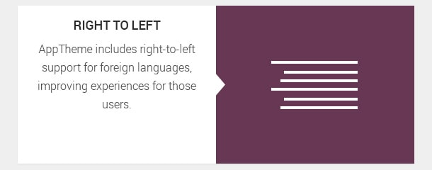 AppTheme includes right-to-left support for foreign languages, improving experiences for those users.