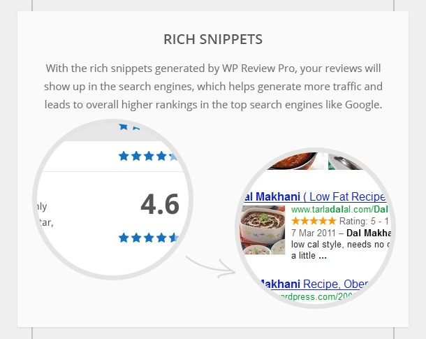 Rich Snippets - With the rich snippets generated by WP Review Pro, your reviews will show up in the search engines, which helps generate more traffic and leads to overall higher rankings in the top search engines like Google.