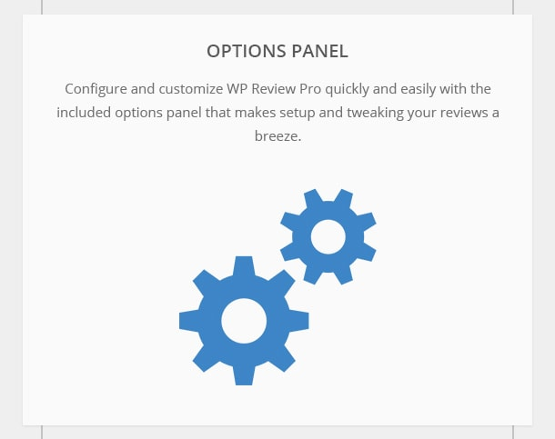 Options Panel - Configure and customize WP Review Pro quickly and easily with the included options panel that makes setup and tweaking your reviews a breeze.