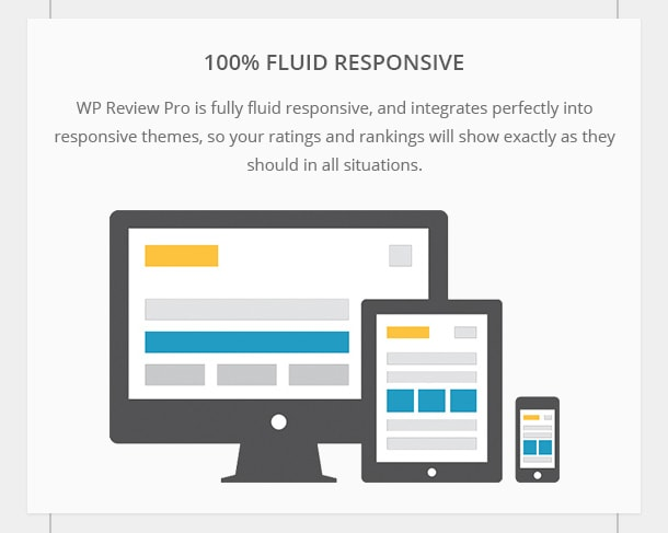 100% Fluid Responsive - WP Review Pro is fully fluid responsive, and integrates perfectly into responsive themes, so your ratings and rankings will show exactly as they should in all situations.