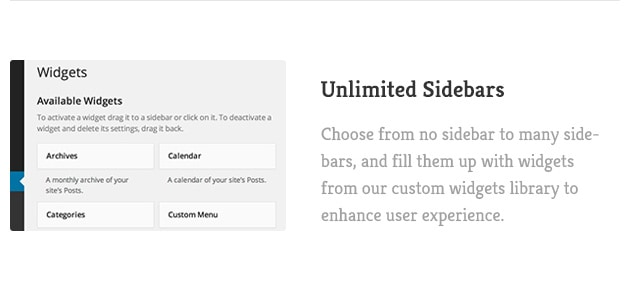 Choose from no sidebar to many sidebars, and fill them up with widgets from our custom widgets library to enhance user experience.