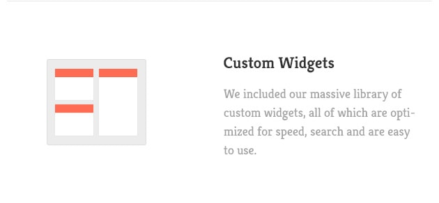 We included our massive library of custom widgets, all of which are optimized for speed, search and are easy to use