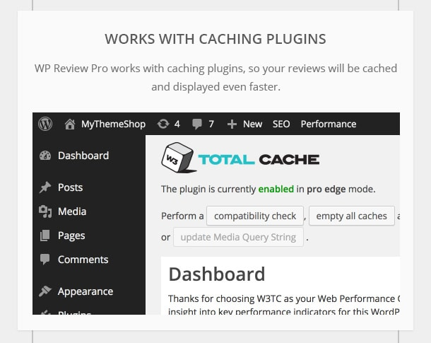 Works with Caching Plugins - WP Review Pro works with caching plugins, so your reviews will be cached and displayed even faster.