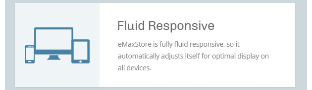 eMaxStore is fully fluid responsive, so it automatically adjusts itself for optimal display on all devices.