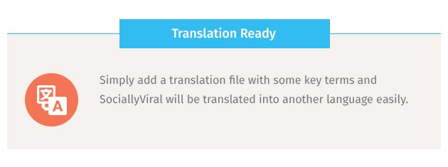 Simply add a translation file with some key terms and SociallyViral will be translated into another language easily.