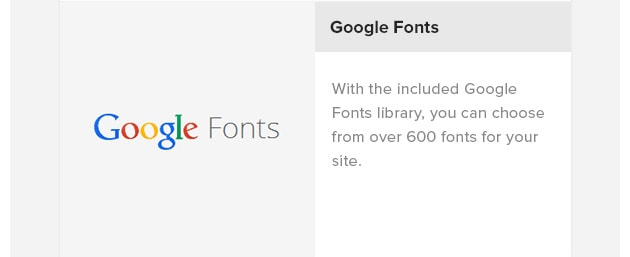 Google Fonts. With the included Google Fonts library, you can choose from over 600 fonts for your site.