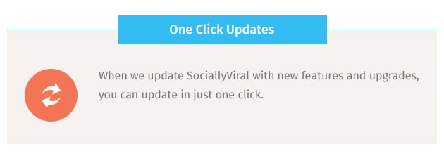 When we update SociallyViral with new features and upgrades, you can update in just one click.