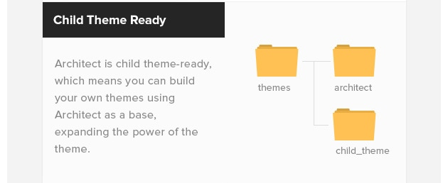 Child Theme Ready. Architect is child theme-ready, which means you can build your own themes using Architect as a base, expanding the power of the theme.