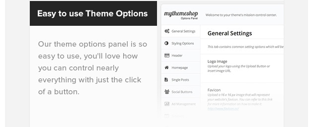 Easy to Use Theme Options. Our theme options panel is so easy to use, you'll love how you can control nearly everything with just the click of a button.