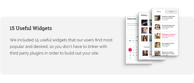 We included 15 useful widgets that our users find most popular and desired, so you don't have to tinker with third party plugins in order to build out your site.