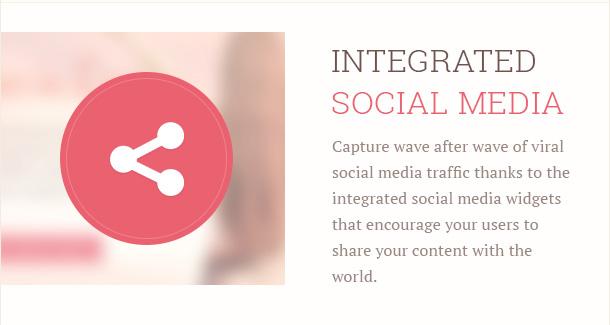 Capture wave after wave of viral social media traffic thanks to the integrated social media widgets that encourage your users to share your content with the world.