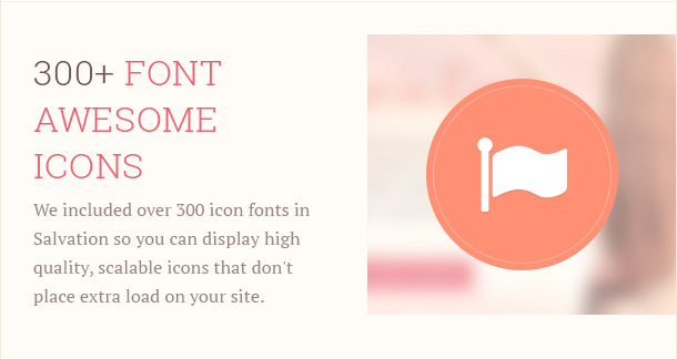 We included over 300 icon fonts in Salvation so you can display high quality, scalable icons that don't place extra load on your site.