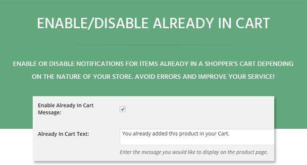 Enable Disable Already in Cart