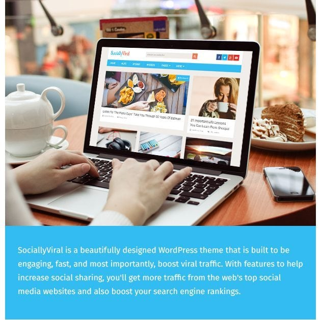 SociallyViral is an engaging WordPress theme that is designed to help boost social shares and get you more viral traffic from the web's top social media websites.