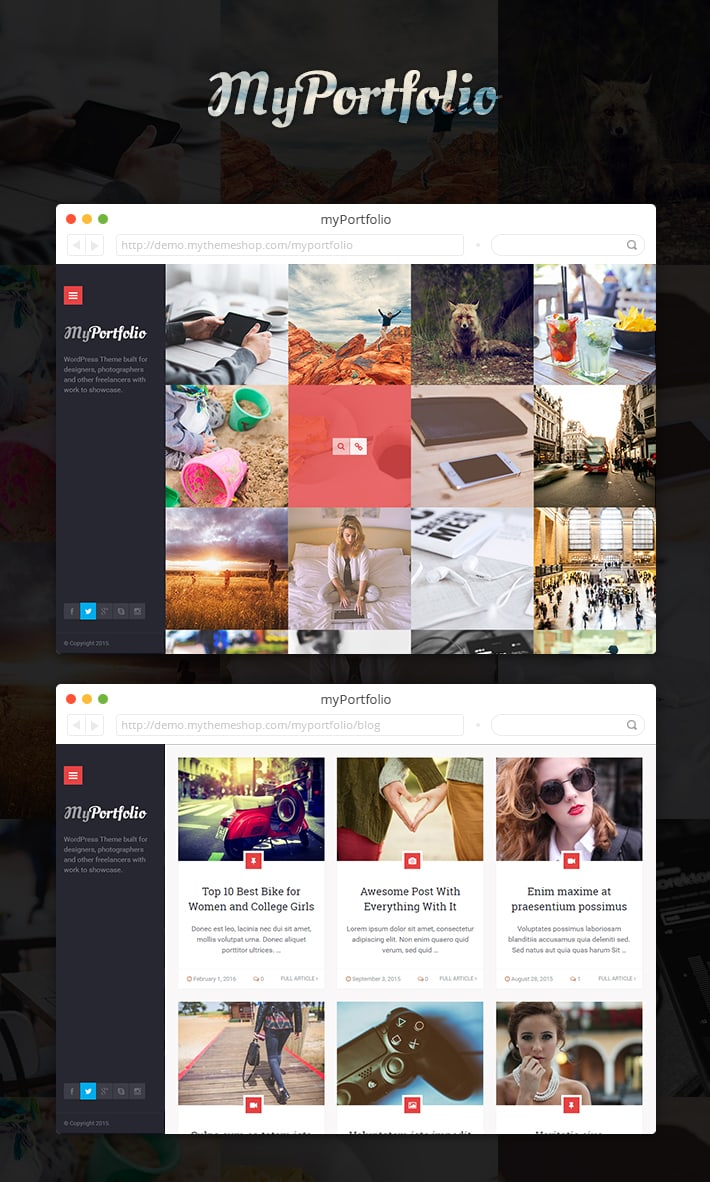 myPortfolio -  Premium WordPress Theme