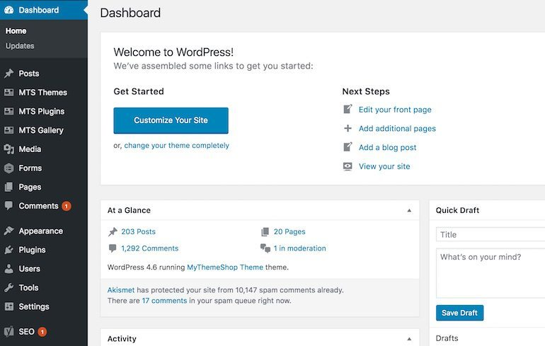 typical-wordpress-dashboard