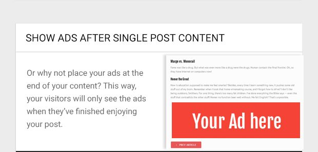Or why not place your ads at the end of your content? This way, your visitors will only see the ads when they've finished enjoying your post.
