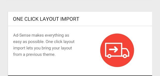 Ad-Sense makes everything as easy as possible. One click layout import lets you bring your layout from a previous theme.