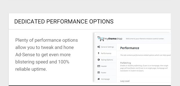 Plenty of performance options allow you to tweak and hone Ad-Sense to get even more blistering speed and 100% reliable uptime.
