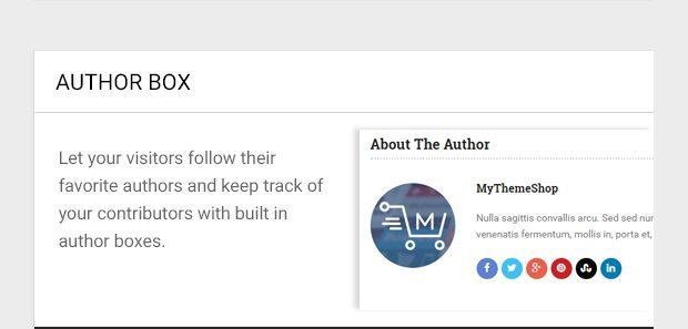 Let your visitors follow their favorite authors and keep track of your contributors with built in author boxes.