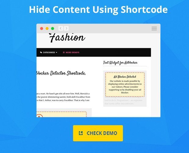 Hide Content Using Shortcodes if Adblocker is detected