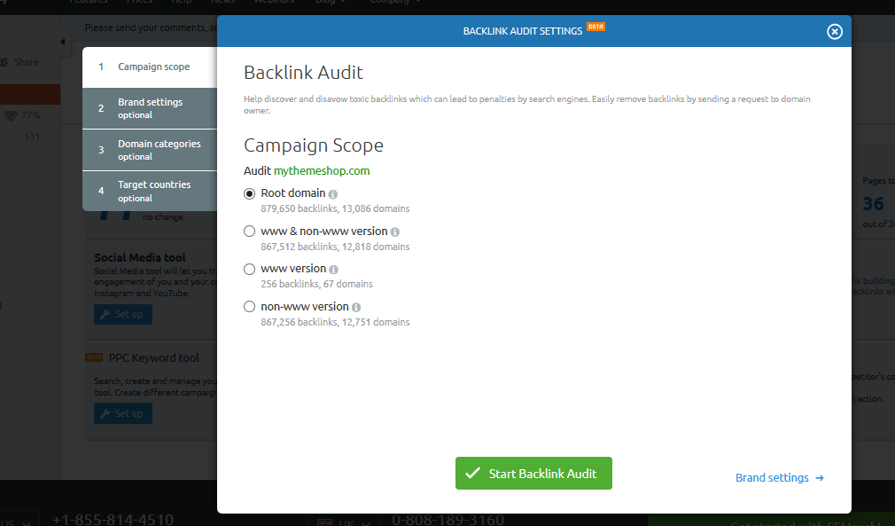Backlink audit campaign scope