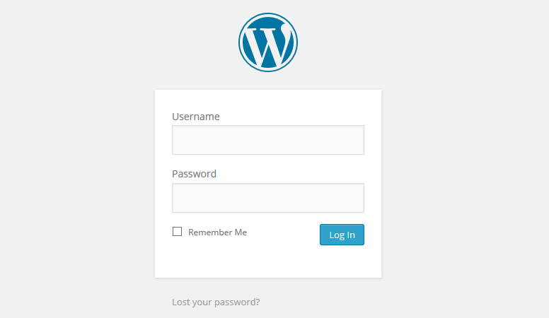 WordPress login page