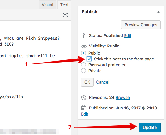How-to-make-a-wordpress-post-sticky-method