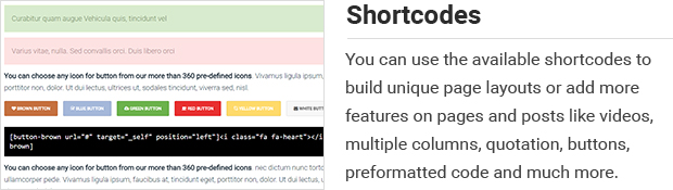 Shortcodes